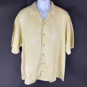 Tommy Bahama Men's Yellow Silk Button Shirt XL